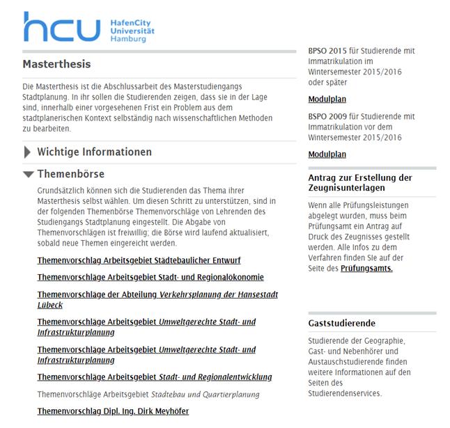 Auch die HafenCity-Universität in Hamburg bietet eine Themenbörse